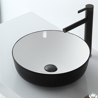 China art basins supply for Industrial style pure Black & white bathroom wash sinks
