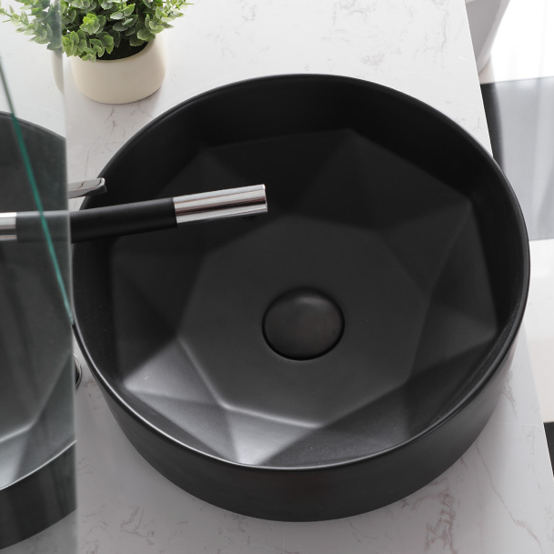 Industrial-style Diamond Basin Black color durable by High temperature firing