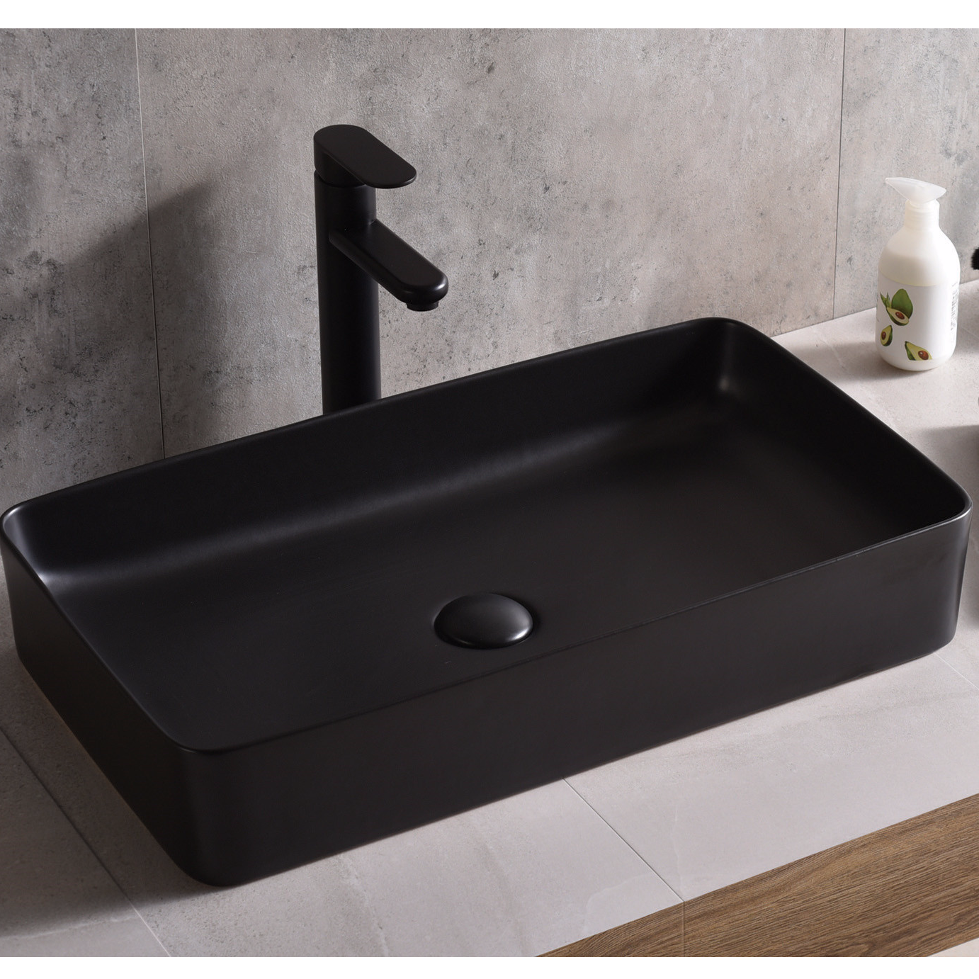 Hot selling designs Pure black high temperature ceramic table basin from Promise Art basin