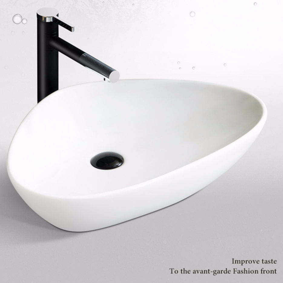 Triangular pure white ceramic table basin from China Art Sinks factory - Promise Art Basin