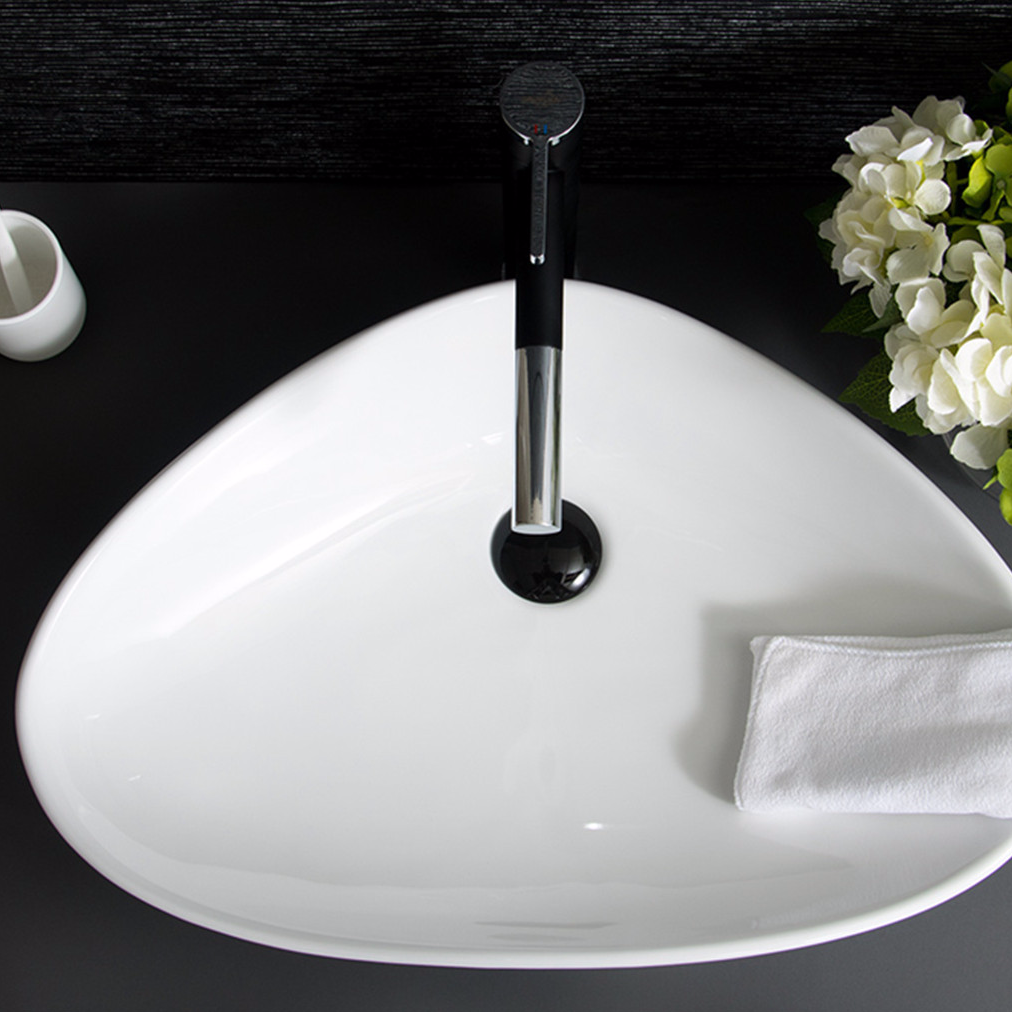 Triangular pure white ceramic table basin from China Art Sinks factory - Promise Art Basin