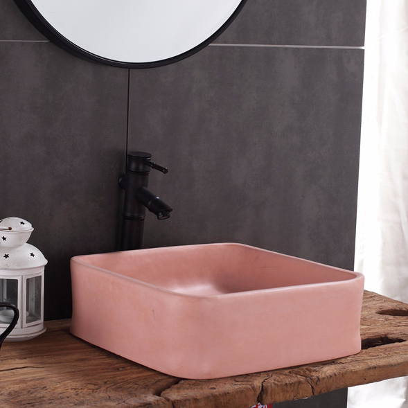 Concrete wash sinks pink color from Foshan Promise Art Basin -Design Beautiful wash sinks to wholesalers