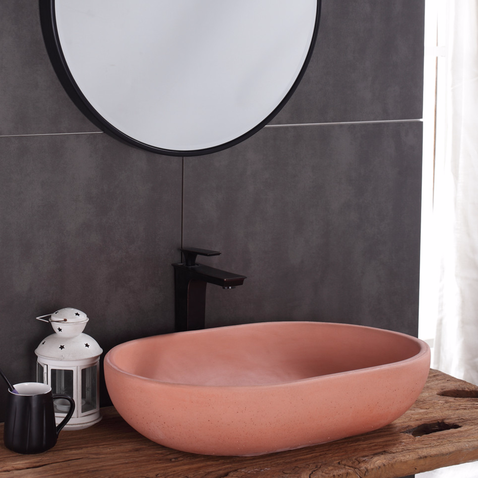 Concrete Cement Sanitary Ware Factory Hotel Bathroom Oval Pink Color Counter Top Sink,china concrete wash sinks suppliers