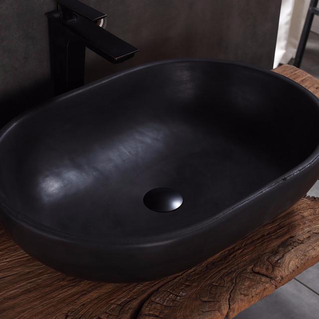 Concrete bathroom terrazzo sinks lavatory round grey cement trough bowl