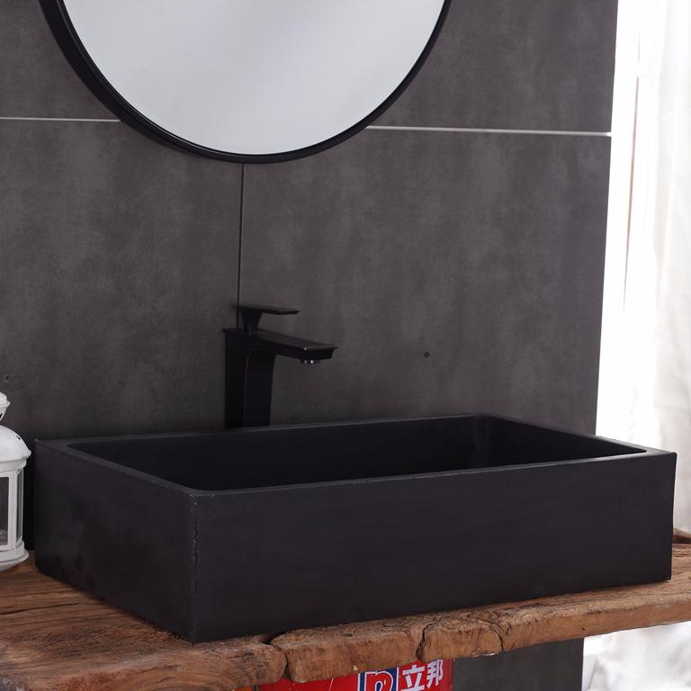 Concrete Cement Sanitary Ware Factory Hotel Bathroom Rectangular Black Above Counter Sink