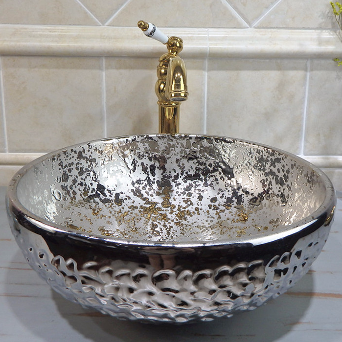 Promise Art Basin Hand carving wash sinks of silver color for bathroom decor /Ceramic wash sink supplier