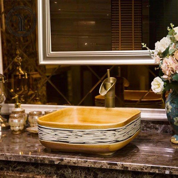 2018 new designs of square shape antique wash sinks