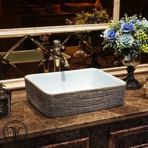 High-temperature firing handmade art above counter basin