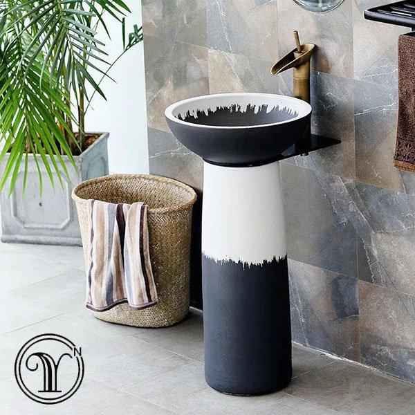 Eco-friendly and industrial style pedestal basins set