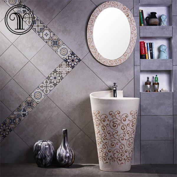 High quality modern designs of sandstone pedestal basin