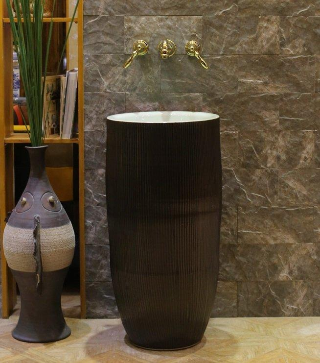 Industrial style pedestal sinks of black color in Malaysia