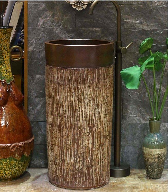 Special wood grain bathroom porcelain pedestal basin
