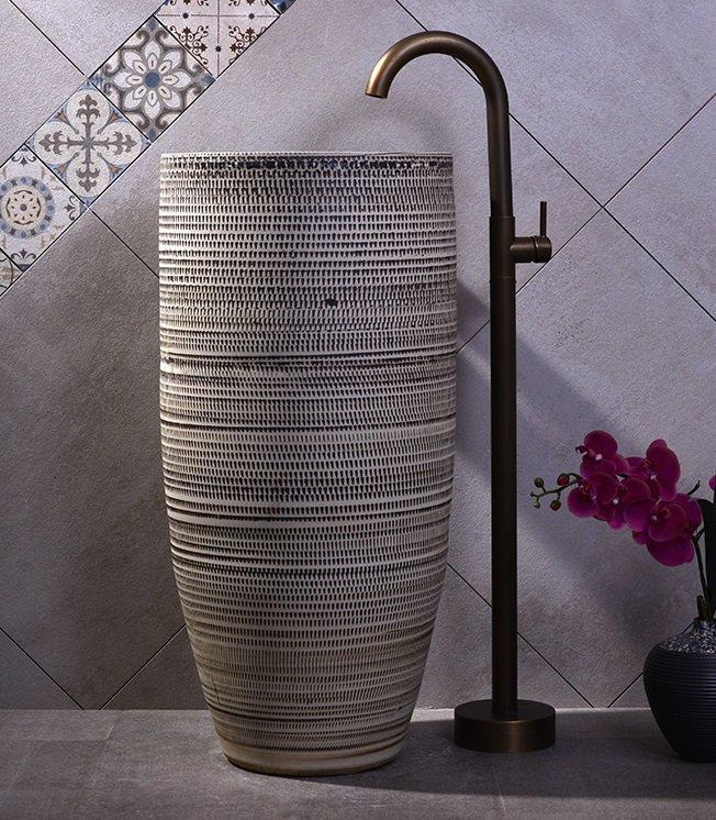 High quality handmade pedestal wash basin grey color