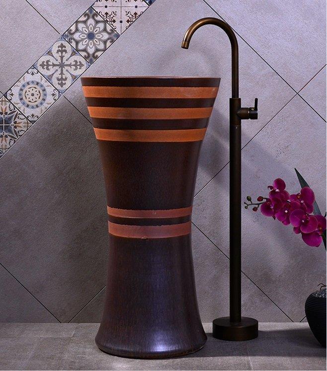 High quality handmade art pedestal basin sink