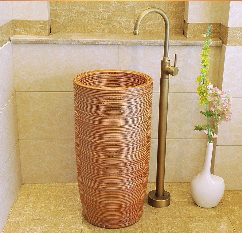 Hot sale brown colored handmade ceramic pedestal basin