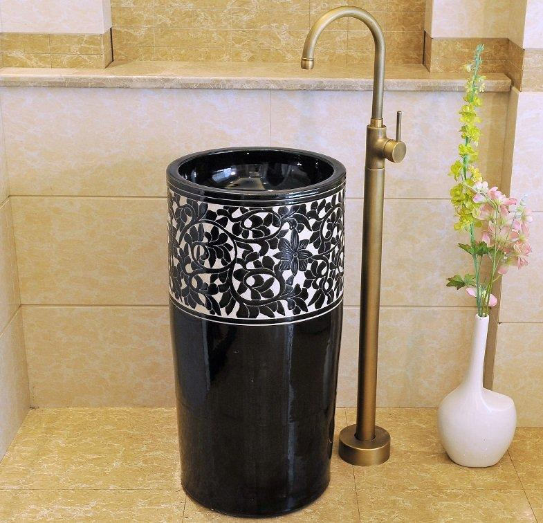 Hand painted porcelain hotel bathroom pedestal basin