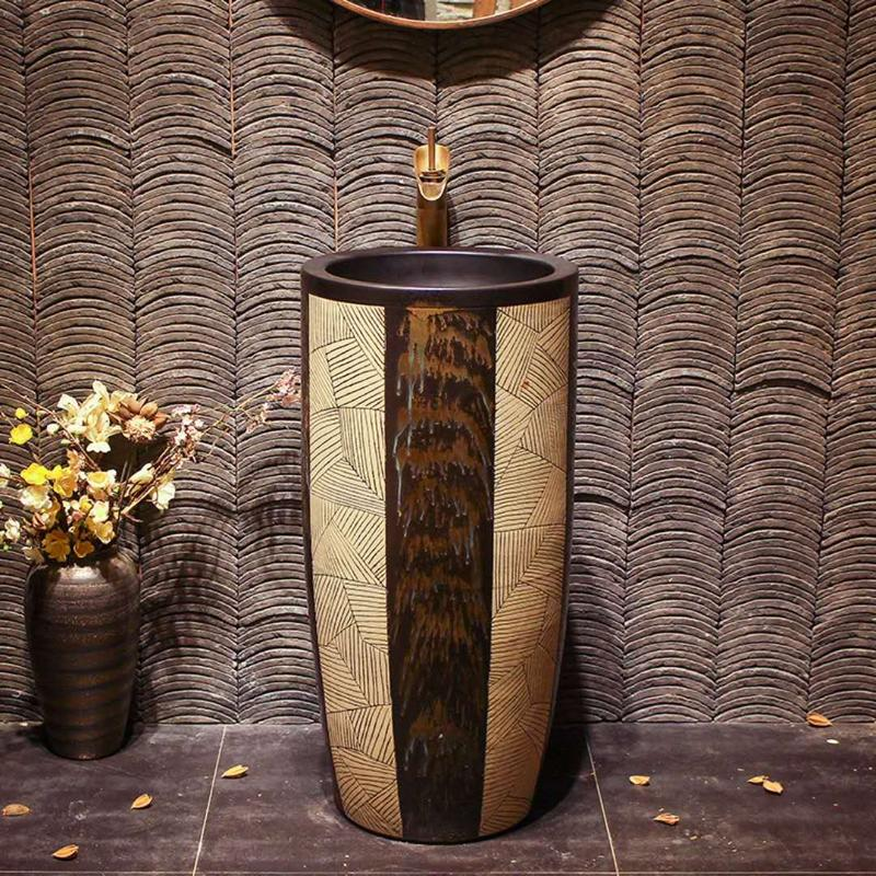 Tribe art design handmade pedestal basin for bathroom/hotel