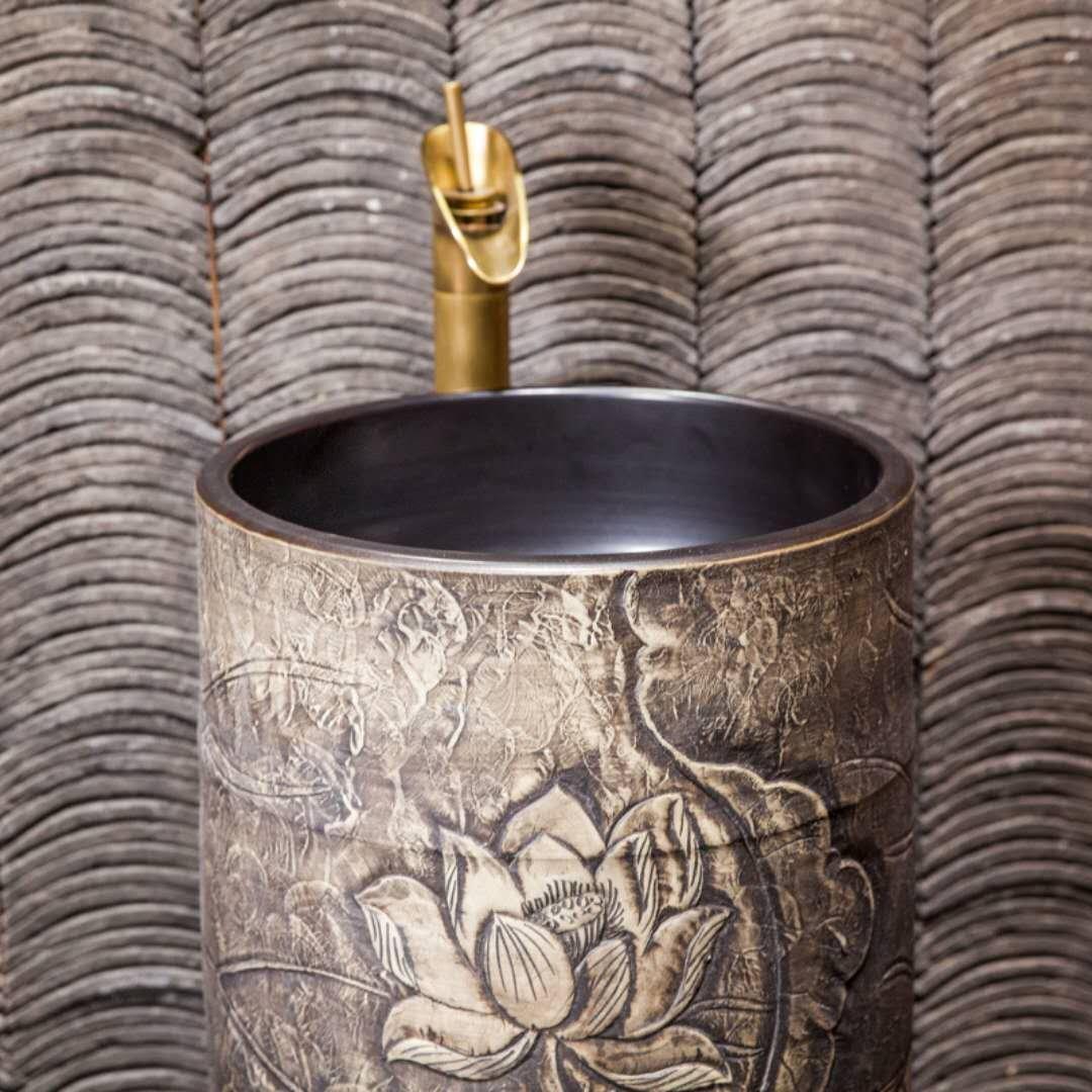 China handmade art sculpture pedestal basin