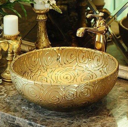 High end luxury gold colored basin for hotel/restaurant