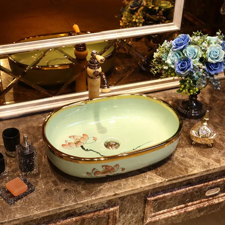 Luxury gold edge hotel bathroom sink basin