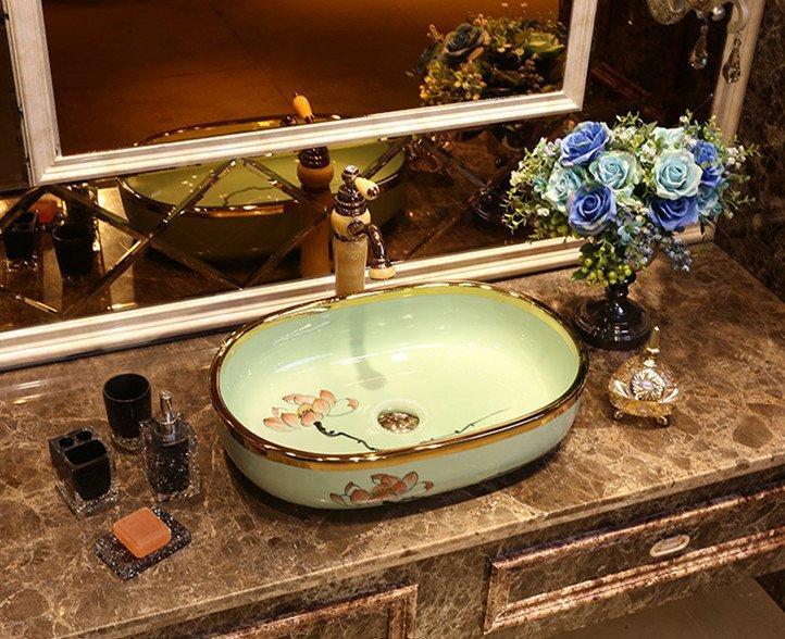 Luxury gold edge hotel bathroom sink basin