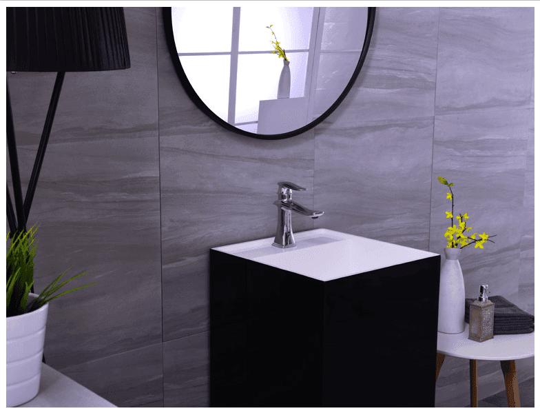 The newest design black color artificial Stone pedestal wash basin