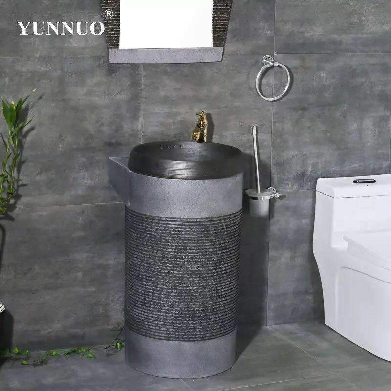 Manufacturer price grey color sandstone wash basins
