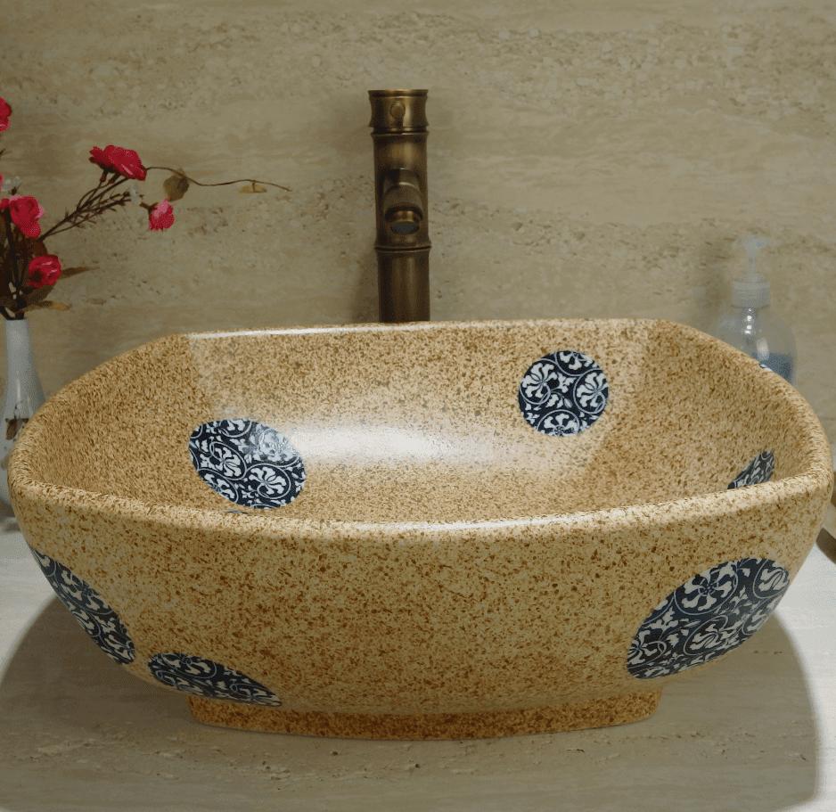China manufactures bathroom products beautiful art designed wash countertop basins
