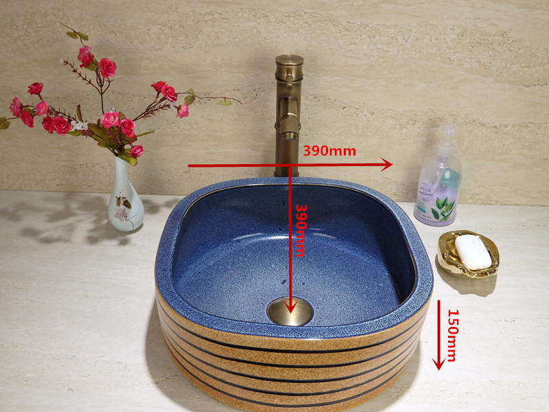Handmade glazed bathroom wash sink for hotel and bathroom