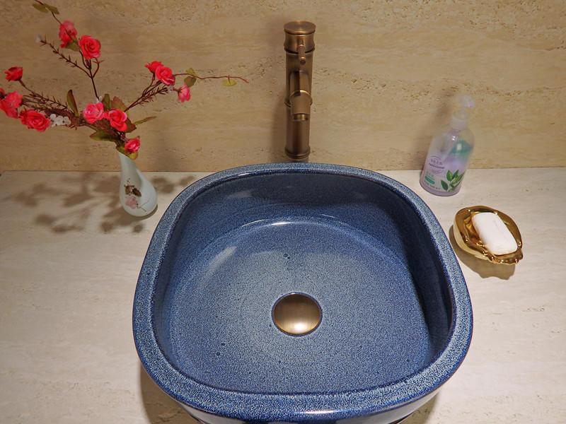 Square shape blue color glazed bathroom wash sink