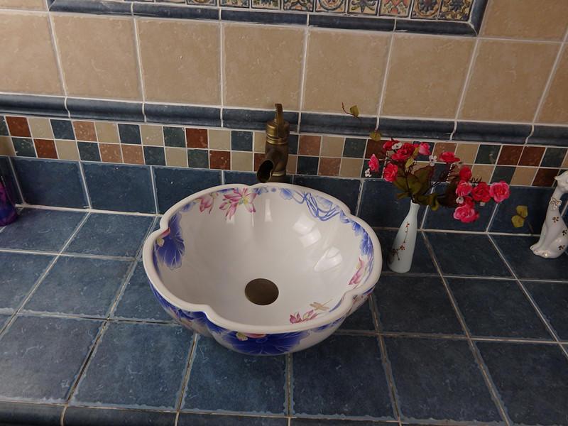 Famous Chinese brand bathroom flower shape porcelain art wash basins