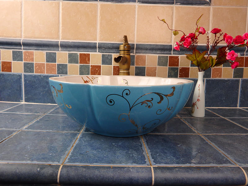 High end Foshan promise art basin with drawing inside