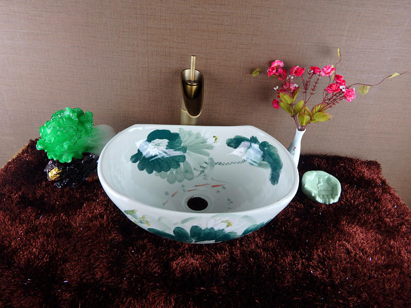 Bathroom wash sinks with hand draw pictures