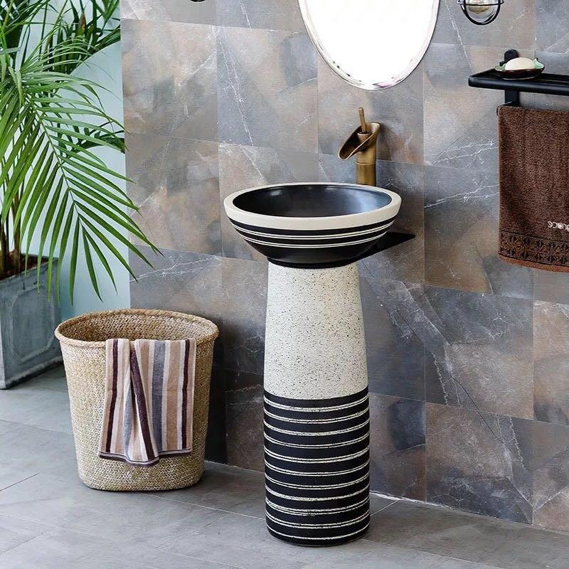The best supplier of pedestal wash basin in black and white color
