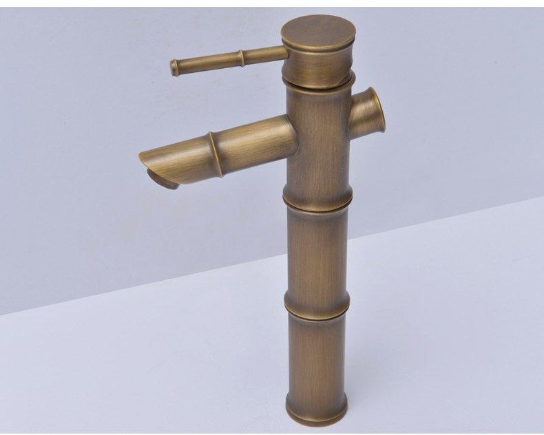 Antique color bamboo shape copper faucet with high pole