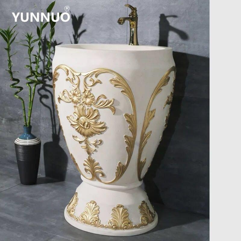 Quotation for hot selling sandstone wash sinks with pedestal basins