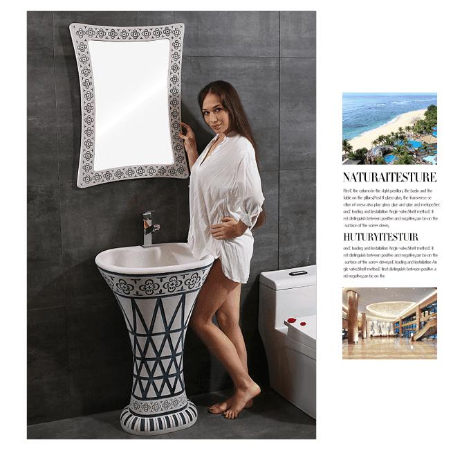 High quality Sandstone wash basin of art pedestal sink