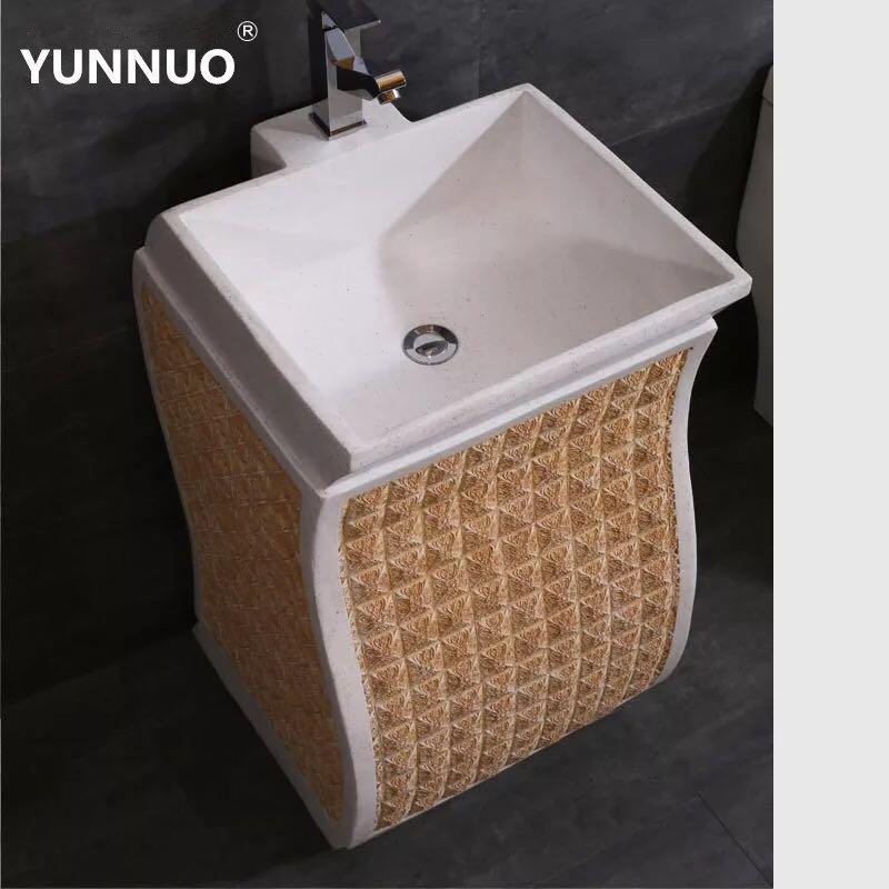 Professional  Sandstone art wash basin manufacturer bathroom sink