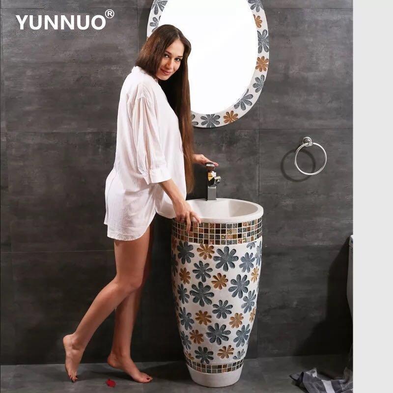 Made in China Hot sales of Bathroom  Sandstone pedestal sink