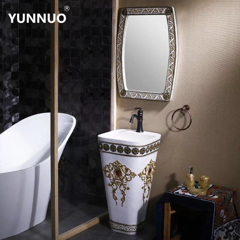 House bathroom fancy style sandstone wash sink basin with beautiful designs