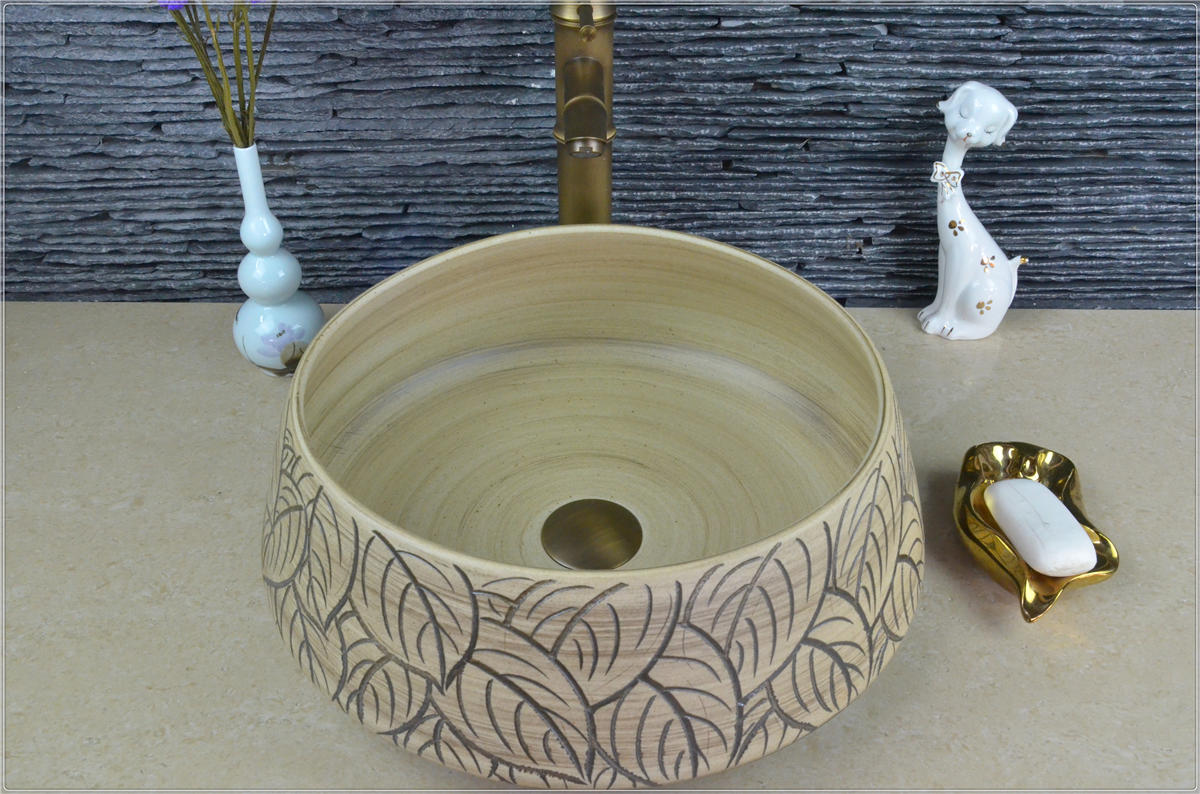 Ceramic High-end antique art basin Outdoor China Easy Cleaning Classical round Hand Sinks
