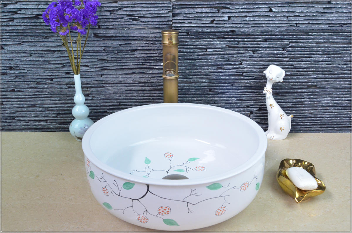 Hot sale toilet basin counter top solid surface white handpaint wash hand sink