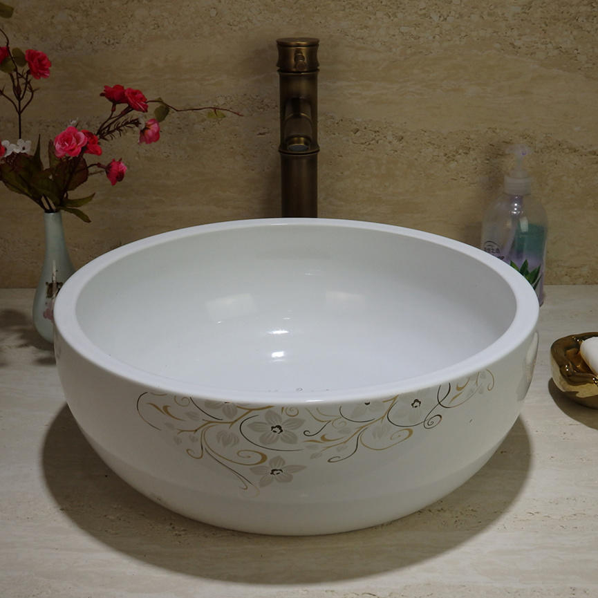 Chinese factory direct art ceramic white basin best price with best quality