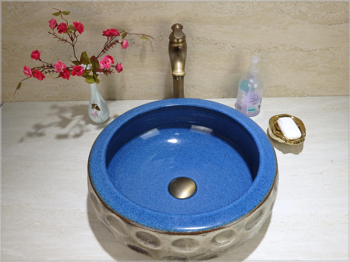 Artistic Design Handmade Colored Bathroom Basin With counter top sinks