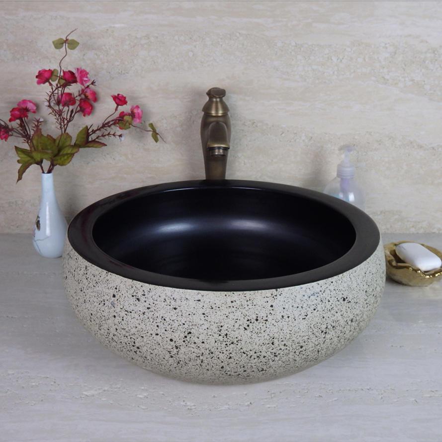 Bathroom ceramic wash basin matt color basin antique design sink YG022