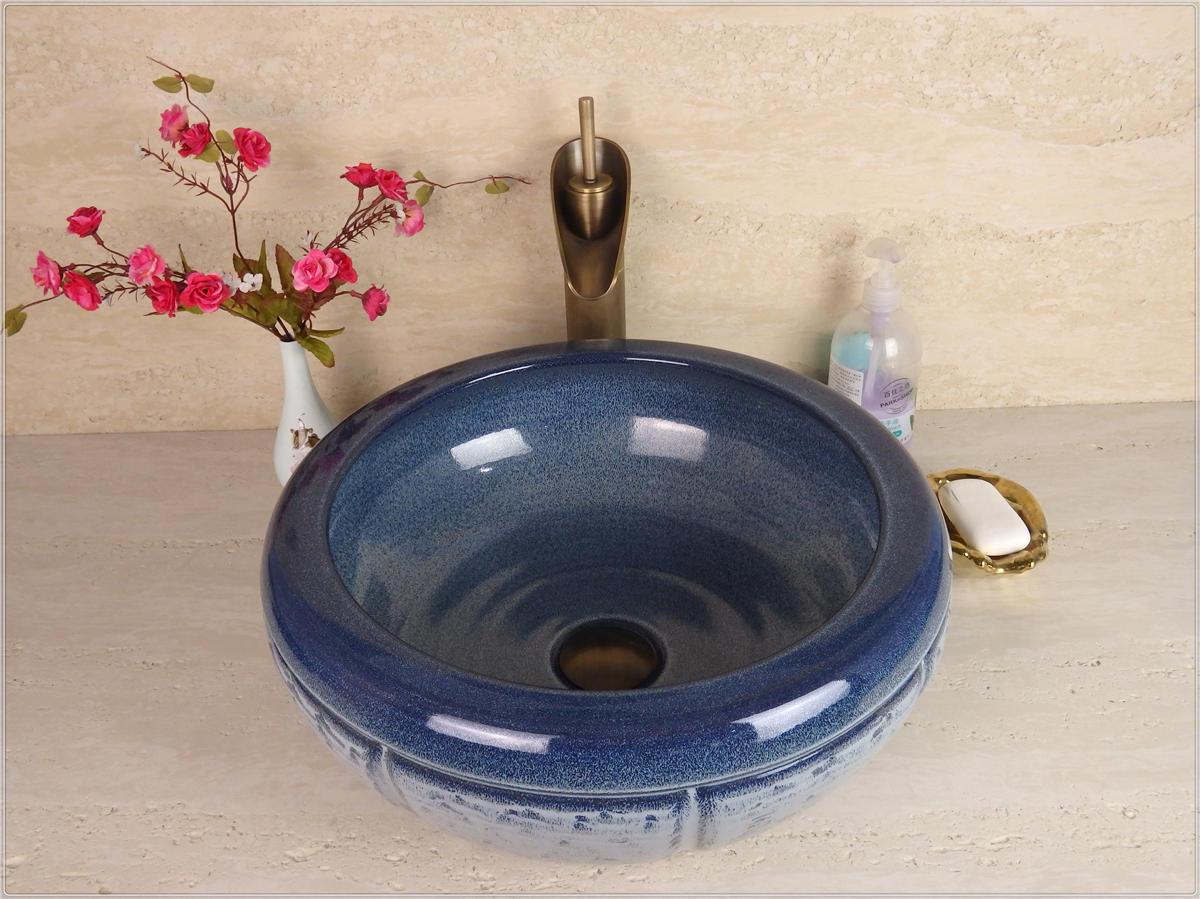 Antique blue color wash ceramic counter top basin and bathroom sink