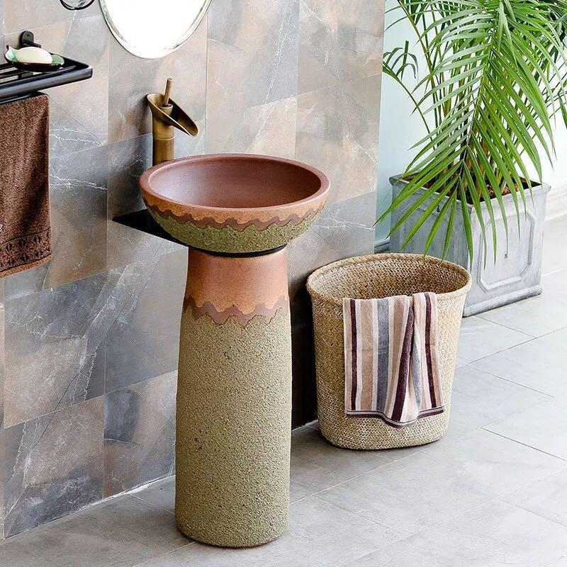 Hotel bathroom free standing wash sinks with beautiful designs