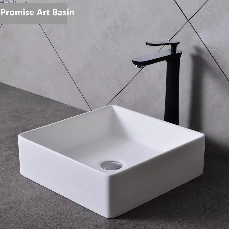 Hot sales designs of Square shape white color Artificial stone wash sinks