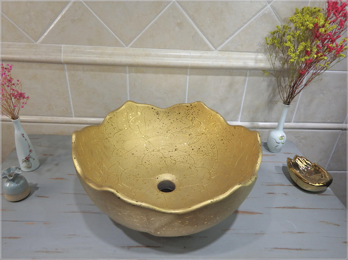 High quality luxury gold basin for bathroom hot selling gold sinks in Middle East
