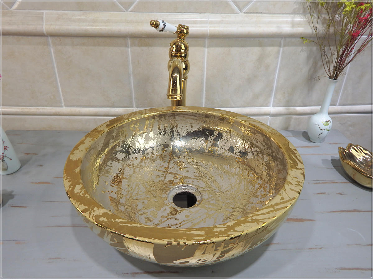 Bowel top designs of luxury gold wash sinks for hotel & apartment can supply OEM service